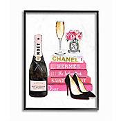 Cuadro Enmarcado Libro Fashion y Champaña 28x36