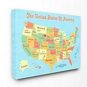 Cuadro en Lienzo Mapa EEUU para Niños 61x76