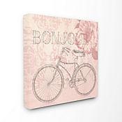 Cuadro en Lienzo Bonjour Vintage Bicicleta 43x43