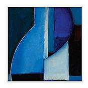 Cuadro Decorativo Zig Zag Azules Placa 30x30