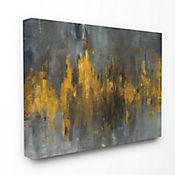 Cuadro en Lienzo Negro y Dorado Abstracto 41x51