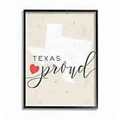 Cuadro en Lienzo Enmarcado Texas Proud Corazón 28x36