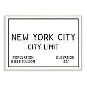 Cuadro Decorativo NYC City Limit Placa 25x38