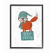 Cuadro en Lienzo Enmarcado Very Merry Hipster Fox 28x36