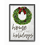 Cuadro en Lienzo Enmarcado Home Holidays Wreath Bow 28x36