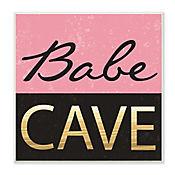 Cuadro Decorativo Placa Babe Cave Pink Gold 30x30