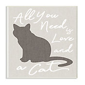 Cuadro Decorativo All You Need Is Love And Cat Placa 32x47