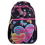 Morral Escolar Niña Estampado Corazón RBA606-18N Negro