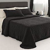 Cubrecama Stonewash Negro Sencillo 160x260