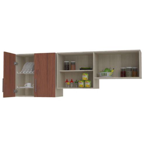 Mueble para Cocina Modular Superior RH 60cm Alto x 180cm Ancho x 48cm  Profundidad Cedro Serena