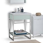 Mueble en Acero con Lavamanos Osbourne 63.5cm Ancho Superficie en Marmol Blanco Cromo