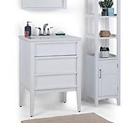 Mueble con Lavamanos Russo 63.5cm Ancho 2 Cajónes con Superficie en Marmol Blanco con Vetas Blancas