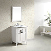 Mueble con Lavamanos Winston 63.5cm Ancho 2 Puertas y Superficie en Marmol Blanco