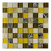 Mosaico x 3 Unidades Decorado Mármol vidrio 27.7cm x 27.7cm Amarillo