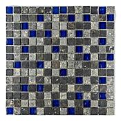 Mosaico x 3 Unidades Decorado Mármol Malla Vidrio 30.5cm x 30.5cm Azul