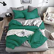Duvet Unicolor Doble Faz Sencillo 160x230 cm Verde Bosque - Gris