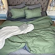 Duvet Unicolor Doble Faz Sencillo 160x230 cm Verde Agua - Gris