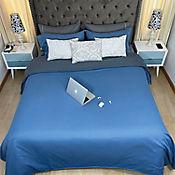 Duvet Unicolor Doble Faz Queen 220x230 cm Azul Marino - Gris