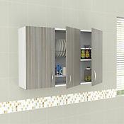 Mueble Superior para Cocina Emma 3 Puertas 60 cm Alto x 120 cm Ancho x 30 cm Fondo Blanco Humo