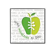 Cuadro Decorativo Cocina Manzana 30x30x3 cm