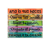 Frases Madera Arcoiris 39x45