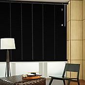 Persiana Horizontal De Aluminio 25  mm Color Negro Mt A La Medida Ancho Entre 165.5-180  cm Alto Entre  30-100 cm