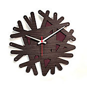 Reloj de Pared 007 34x34 cm Madera Garnica - Vinotinto