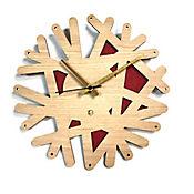 Reloj de Pared 006 34x34 cm Madera Carvalho - Rojo