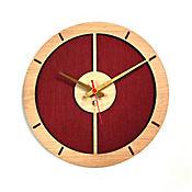Reloj de Pared 009 34x34 cm Madera Carvalho - Rojo