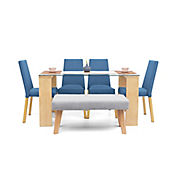 Comedor 6 Puestos Viena 4 Azul + Butaco Plata 148x76x79cm