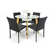 Comedor Praga 4 Puestos Vidrio + 4 Lugo 95x85x74cm Negro