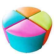 Puff Semitriangular 4 Puestos 80x80x42 Multicolor