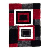 Alfombra High Relief 80x150cm Negro - Rojo 01
