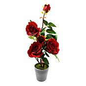 Planta Rosa Base Artificial 1 Pieza 22X22X53 cm