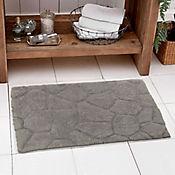 Set x2 Tapete Baño Algodón Piedras 40x60 Gris