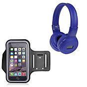 Audífonos Radio Mp3 Micro Sd-Azul+Brazalte Deportivo Negro