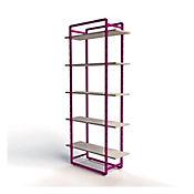 Biblioteca Flexi 96x35x200 Valch Gris/Violeta