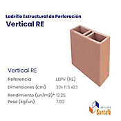 Bloque Perforado Vertical 33x11.5x23 7.8k 12.25u/m2
