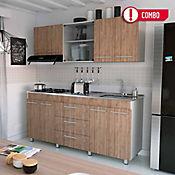 Proyecto Cocina Integral Bari 1.80 cm Miel - Blanco Rta Design + Mesón Radiante 180x52 cm con 4 Puestos a Gas Poceta Derecha Monocontrol Acero Inoxidable Socoda
