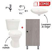 Combo Sanitario Tao Single + Mueble Para Lavamanos + Grifería Lavamanos Sencilla Sevilla + Kit de Accesorios 3 Piezas