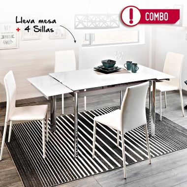 Comedor Mesa Extensible Vidrio Blanco + 4 Sillas Comedor Suiza Blancas