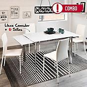 Combo Comedor Mesa Extensible Vidrio Blanco + 6 Sillas Comedor Suiza