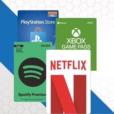 Tarjetas Netflix, Xbox y Otros